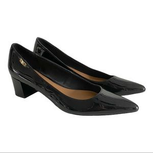 Calvin Klein black patient leather chunky heels